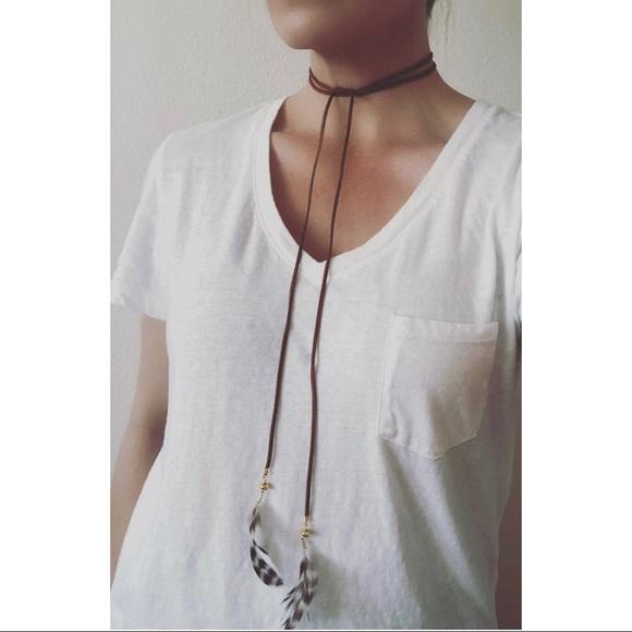 db0ef112eb529 Boho leather feather choker lariat necklace